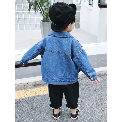 Kids Boys Tops Children Denim Jacket Sweater Korean Style Casual Summer Outfits