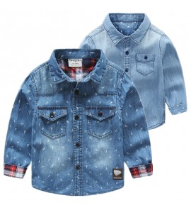 Kids Boys Tops Korean Style Denim Jacket Polo Shirt  Casual Male Summer Outfits