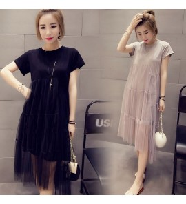 Women Maternity Summer Dress Pregnancy Short Sleeved Female Mesh Korean Fashion