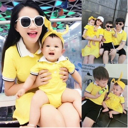 Parent Child Clothing Fitted Body Suit Short Sleeved Polo Men Summer Wear Outfit