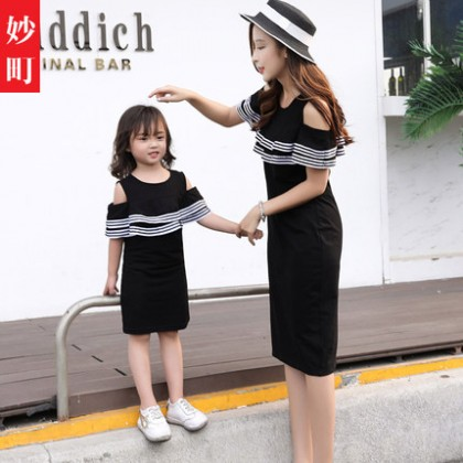 Parent Child Clothing Wear Family Three Black Outfits Mother Dress Off Shoulder