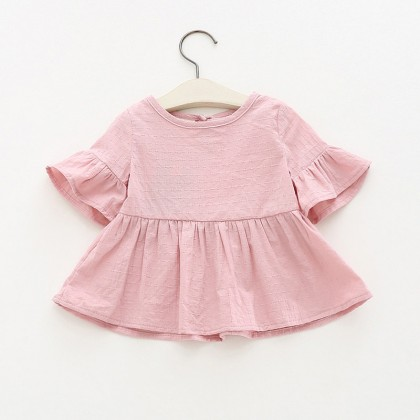 Baby Clothing Tops Girls Ruffled Shirt Summer Female Baby Short-Sleeved T-shirt