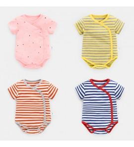 Baby Clothing Sleepwear Cotton Short Sleeve Summer Stripe Suit Overlap Baby Wear