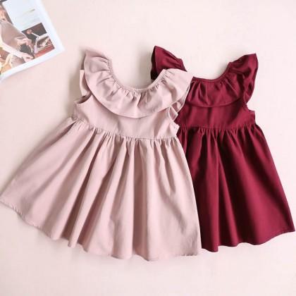 Kids Girls Clothing Dress Set Sleeveless Princess Korean Style Pleated  Backless
