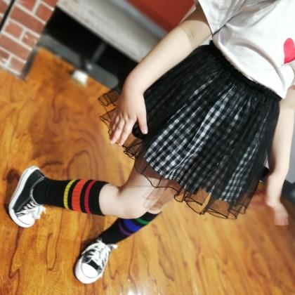 Kids Girls Clothing Bottoms Little Fluffy Plaid Mesh Princess Pleated Mini Skirt