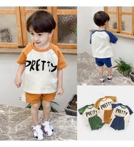 Kids Boys Clothing Set Summer Loose Cotton Pants T-Shirt Short Sleeve Round Neck