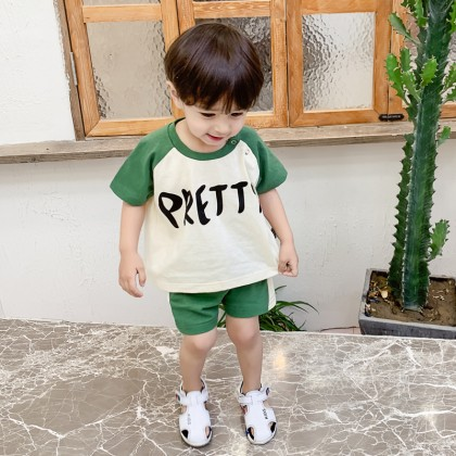 Kids Boys Clothing Set Summer Loose Cotton Pants T-Shirt Short Sleeve Round Neck