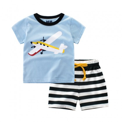Kids Boys Clothing Set Children's Korean's Style Short Sleeved Cotton Sportswear