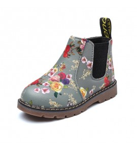 Kids Girls Shoes Cute Floral Leather Martin Boots Fashion Summer  Casual Female