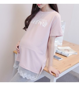 Women Maternity Tops Long Cotton Lace Short - Sleeved T-Shirts Casual Pregnant