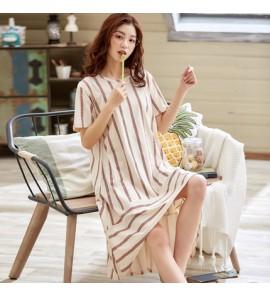 Women Maternity Sleepwear Night Long Dress Female Summer Short Sleeved Pajamas