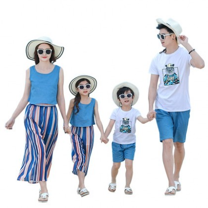 Parent Child Clothing Family of Three Summer Clothes Beach Wear Cotton Outfits