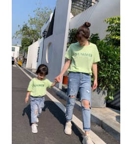 Parent Child Clothing Short Sleeved Comfortable Cotton T-shirts Family Outwear