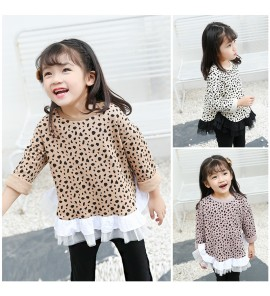 Kids Clothing Tops Girl Shirt Long Loose Shirt Sleeve Leopard Print Korean Style