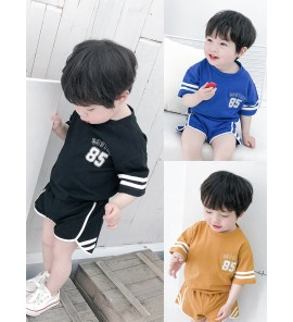Kids Clothing Boys Set Small Male Cotton Summer Sporty Cute Shirt Shorts Clothes
