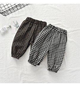 Kids Clothing Bottoms Boys Plaid Soft Cotton Outer Trousers Summer Casual Pants