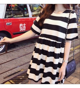 Women Maternity Clothing Summer Dress Stripe Cotton Short Sleeved Comfy Outwear