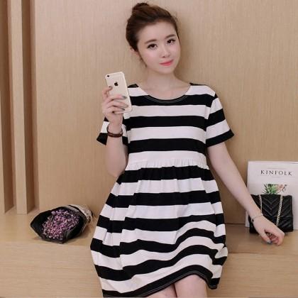 Women Maternity Clothing Summer Dress Stripe Cotton Short Sleeved Comfy Outwear