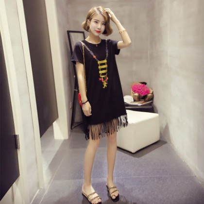Women Maternity Clothing Summer Dress Cotton Short Sleeved Korean Style Loose