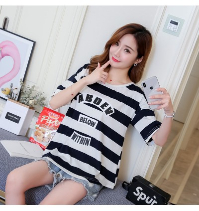 Women Maternity Top Clothing Stripe Cotton T-Shirt Loose Comfortable Summer Wear