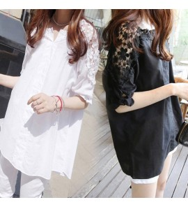 Women Maternity Top Clothing Lace Loose Shirt Summer Korean Style Outfits Wear
