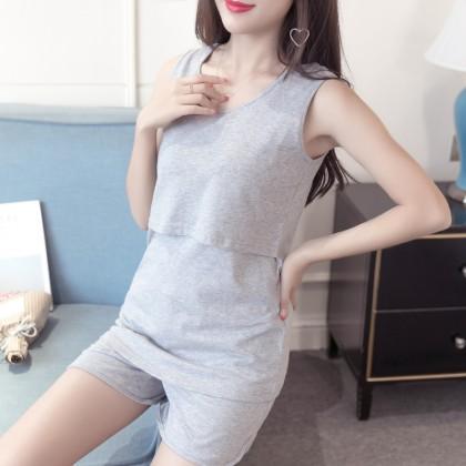 Women Maternity Sleepwear Summer Cotton Pregnancy Postpartum Pajamas Night Wear
