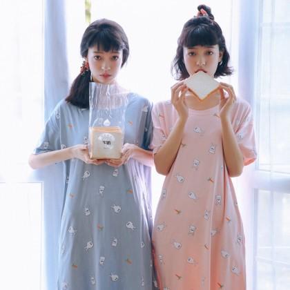 Women Maternity Sleepwear Cotton Loose Night Dress Short Sleeve Korean Style