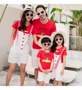 Parent Child Clothing Summer Wear T-Shirts Cotton New Tide Family of Three