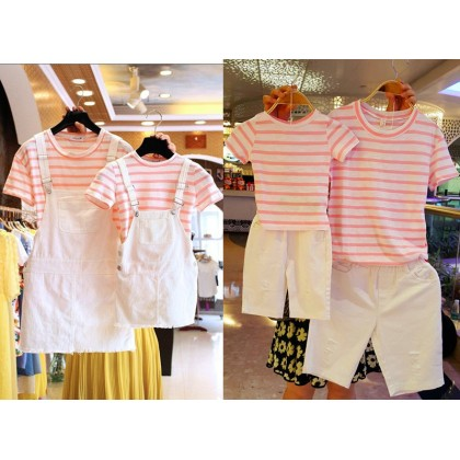 Parent Child Clothing Family of Three Cotton Stripes Short Sleeve T- Shirts