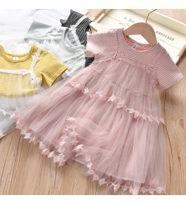Kids Clothing Girls Summer New Korean Style Mesh Princess Stripes Dress Outfits