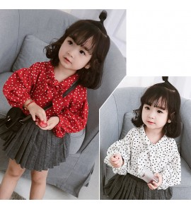 Kids Clothing Tops Girls Spring Lantern Sleeve Korean Style Children Dot Shirt