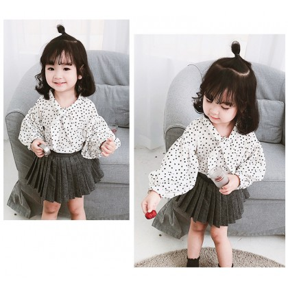 Kids Clothing Tops Girls Spring Lantern Sleeve Korean Style Children Dot Shirt