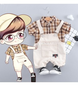 Kids Clothing Boys Sets Cotton Summer Spring Dungaree Plaid Denim Children Wear