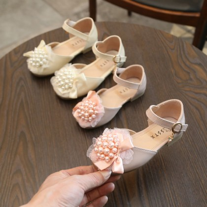 Kids Shoes Girls Sandals Princess Ribbon Pearl Style Female Outwear Casual Leather