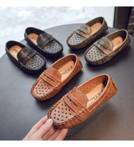 Kids Shoes Boys Leather Peas Leather Loafers Male Casual Footwear Soft Bottom