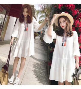 Women Maternity Clothing Dress  Cotton Summer Loose Long Pregnancy Outfits Wear