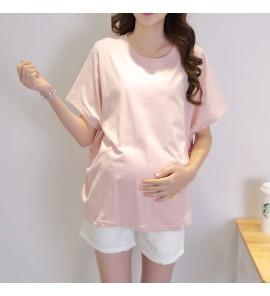 Women Maternity Clothing Tops Cotton Loose Summer Pregnancy Short Sleeve Outfits
