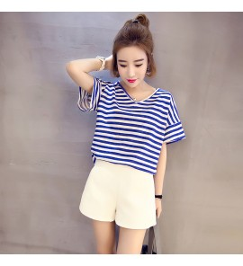 Women Maternity Nursing Wear Breastfeeding Clothes Short Sleeved Stripes Fashion