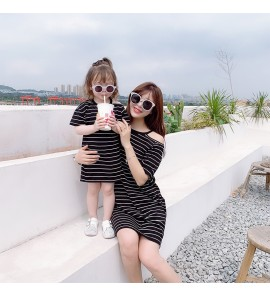Parent Child Clothing Summer New Dress Outfits Fashion Mom Child Stripe Outwear