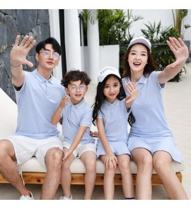 Parent Child Clothing Summer Wear Tide Family of Three Polo Shirts Cotton Dress