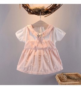 Baby Clothing Dress Set Girl Summer Cute Cotton Bow  Wear Fashion Style Outwear
