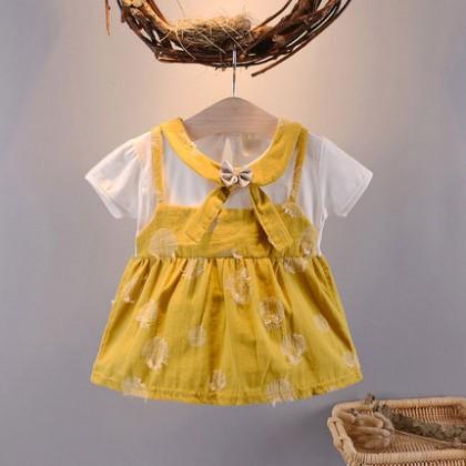 Baby Clothing Dress Set Girl Summer Cute Cotton Bow  Wear Fashion Style Outwear