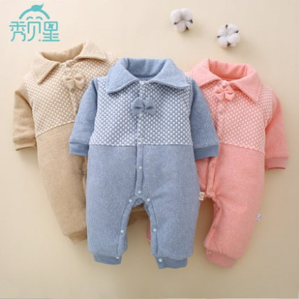 Baby Clothing Winter Wear Cotton Newborn Tide Cute Bow Jumpsuit Winter Outwear