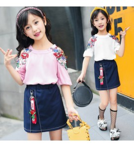 Kids Clothing Tops Girls Cotton Short Sleeve Exquisite Embroidery Summer Outwear