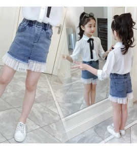 Kids Clothing Bottoms Girls Children's Summer Korean Denim Skirt With Ruffles