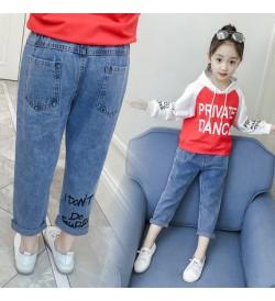 Kids Clothing Bottoms Girls Korean Style High Waist Denim Pants New Trousers
