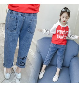 Kids Clothing Bottoms Girls Korean Style High Waist Denim Pants New Trousers