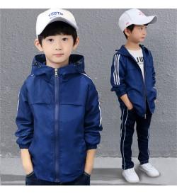 Kids Clothing Tops Boys Korean Style Hooded Jacket  Spring Children Sports Wear