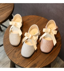 Kids Shoes Girls Lace Bow Princess Doll Flat Shoes Glitter Sandals Casual