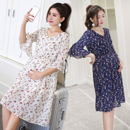 Maternity Clothing Women Long Dress Summer Spring Floral Style Attire Outwear